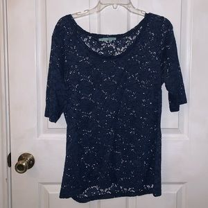 Navy blue blouse with floral designs
